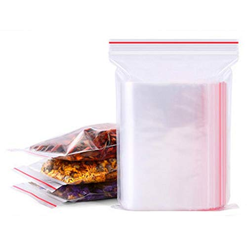 ZBXCVZH 100 stücke Transparente Tasche Wiederverwendbare Lebensmittelaufbewahrungstasche PVC Aufbewahrungstasche Frischhilfe Küchentasche Reißverschluss Tasche (Color : 7x10cm)