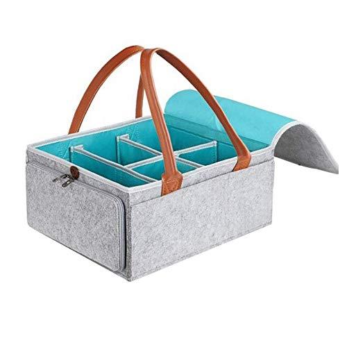 Cxssxling - Cesta de pañales para bebé, de fieltro, con deslizador bidireccional, periférico y separador desmontable portátil, organizador de cambiador de mesa