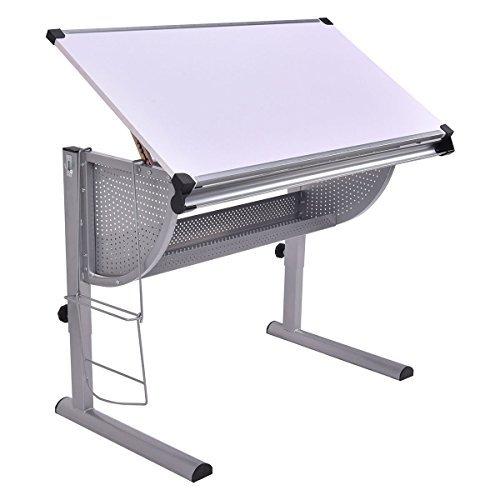 Tangkula Drafting Table Drawing Desk Adjustable Art & Craft Hobby Studio Architect Work (White)