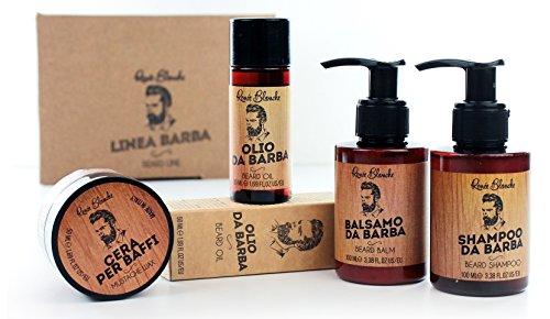 Renée Blanche Beard Line Kit Linea Baffi e Barba - Cofanetto All in One contenente Cera per Baffi, Olio da Barba, Balsamo da Barba, Shampoo da Barba