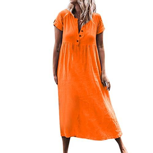 Lulupi Linen T-Shirt Leinenkleider Damen V-Ausschnitt Kurzarm Boho Strandkleid Lang Lose Tunika Übergroßer Code(32-48)