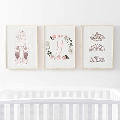 Pom Pom Prints® Lot de 3 cadres photo pour bébé fille Motif ballerine Format A4 Cadre non inclus