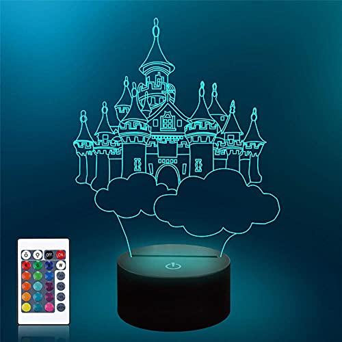 Luz nocturna LED 3D, castillo con mando a distancia de 16 colores cambiantes, decoración de dormitorio, regalo creativo de cumpleaños de Navidad para hombres, niños y amigos