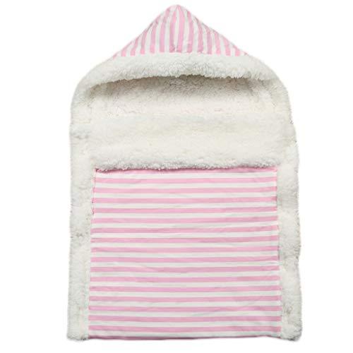 Manyo - Saco de dormir de invierno para bebé, de algodón, accesorio para cochecito de bebé, diseño de rayas, color rosa