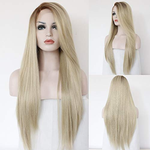 QD-Udreamy Ombre Blonde Wigs for Women Dark Roots Synthetic Silk Full Wig for Party Daily Use Natural Hairline Replacement Wigs Christmas Women Wigs 24''