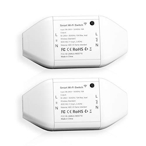 Meross Wlan Schalter Universal Smart Wifi Switch Fernbedienung Sprachsteuerung Mit Amazon Alexa, Google Assistant Und Ifttt, Diy Smart Home Für Elektrische Haushaltsgeräte, 2 Stücke