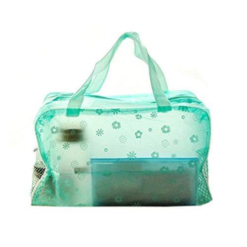 Floral Print Transparent Waterproof Cosmetic Bag Toiletry Bathing Pouch (Green) by Phoenix B2C UK