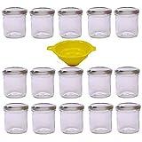 Viva Haushaltswaren G1130167/15T/silber/X - Lote de 15 tarros de Mermelada pequeños (167 ml Tapa Embudo Amarillo con sujeción)