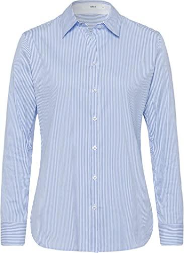 BRAX Damen Style Victoria Cotton Mix Stripes Bluse, Water, (Herstellergröße: 40)