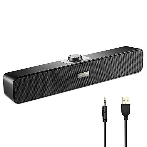 【小型 大音量 高音質】PCスピーカー Scomoon 10W ステレオサウンドバー usb 小型 スピーカー テレビ用/パソコン/スマホ/ゲーム機に対応 音楽再生3D音質 壁掛け可