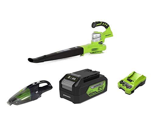 Greenworks Tools 2400007 - Soplador + Aspiradora de mano de batería G24HV + Batería G24B4 2ª generación + Cargador de baterías G24C
