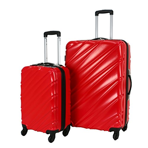 Swiss Case 4 Wheel Spinner Wave 2Pc Strong ABS Suitcase/Luggage Set Red