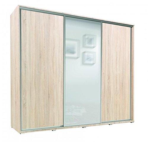 Kleiderschrank mit Spiegel Schrank Garderobe Dreitürenschrank Schwebetürenschrank Schwebetüren 3-Türig Monaco (Eiche Sonoma)