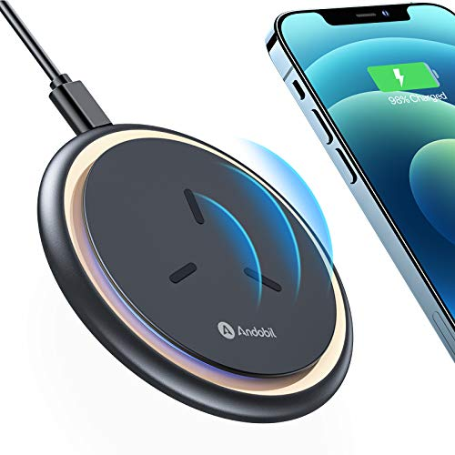 andobil Wireless Charger [2021 Intelligent Chip] Qi-Certified 15W/7.5W Fast Wireless Charging Pad with Cooling Fan Compatible iPhone 12 Pro Max,11,XR,XS,Samsung Galaxy S21 S20 S10,Note 20/10, Pixel 5
