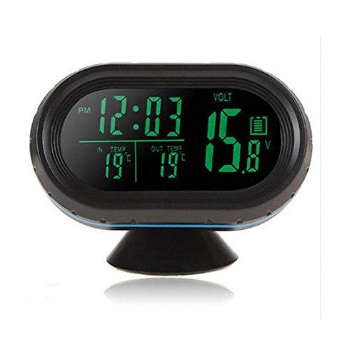 HOTSYSTEM 12-24V Multifunktion Digital Uhr Voltmeter und Thermometer Alarm 3in1 2 LCD Anzeige Farben Zigarettenanz¨¹nder Batterie Tester Gr¨¹n+Orange