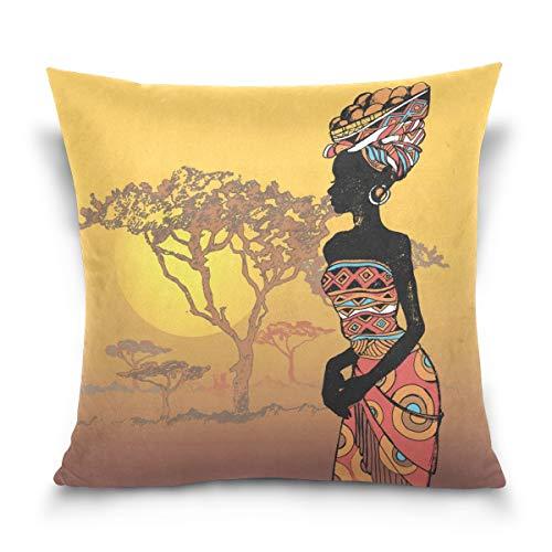 Linomo Kissenbezug 40x40 cm, Afrikanisch Frau Afrika Tier Dekorative Kissenbezug Kissenhülle für Couch Sofa Bett Hause