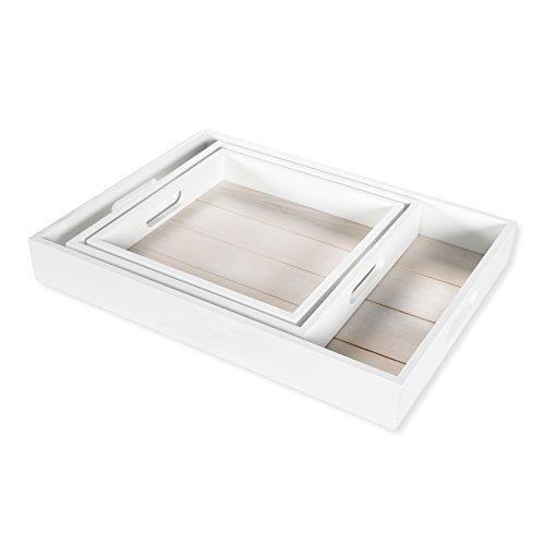 DRULINE 3er Set Serviertablett Holztablett Betttablett Dekotablett zum Servieren in 3 Größen | L x B x H K 24 x 4 x 24 cm M 27 x 5 x 27 cm G 40 x 5.5 x 30 cm | Weiß