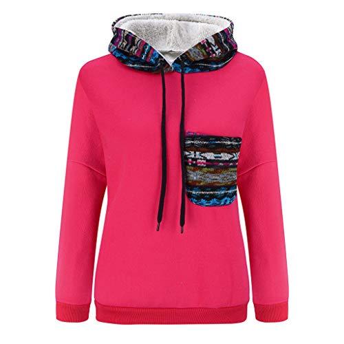 AQIN Damen Gedruckte Nähte Kapuzenpullover Fleece Langarm Sweatshirt Tops Plus Samt Sport-Sweatshirt