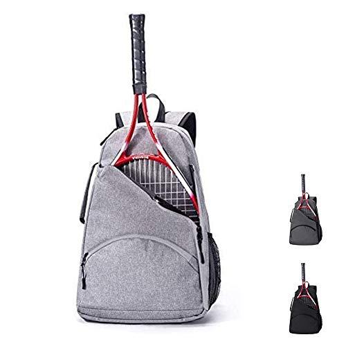 QCWN Tennis Racket Backpack Racquet Tennis Bag Tennis Backpack for Adults Men Women Tennis Racquet Holder Bag for Racquetball Squash Badminton.(Grey/Black/Dark Gray)