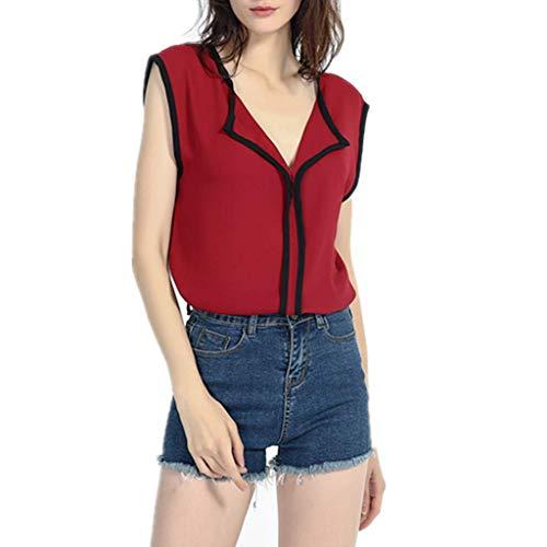 VEMOW Blusa sin Mangas de la Camisa de la Gasa del Dulce Fresco Fresco Ocasional Las Mujeres Camisetas(Vino,M)