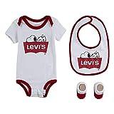 Levi's Baby Bodysuit, Bib and Booties 3-Piece Gift Box Set, White Snoopy, 0/6M