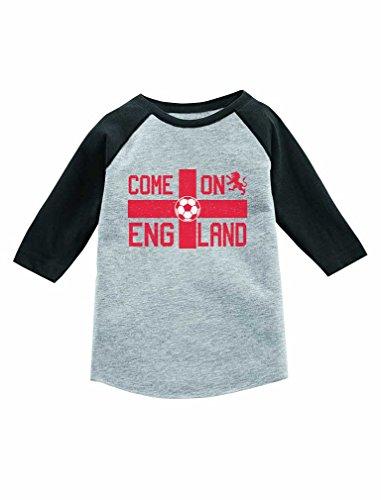 Camiseta infantil Come On England com manga 3/4 e bandeira do Reino Unido, Cinza escuro, 3T