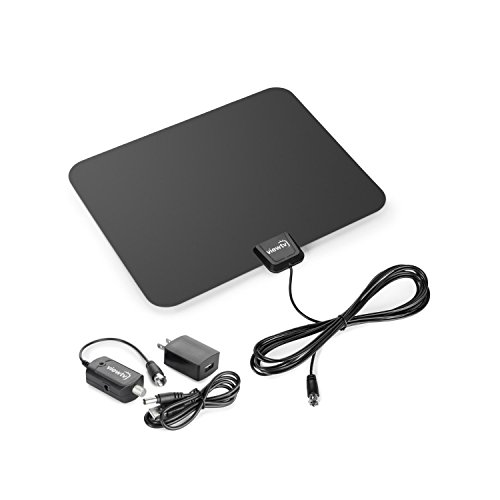 ViewTV 50 Mile Digital TV Antenna Flat Indoor Amplified HDTV - UHF/VHF 1080P Channels w/Detachable Signal Amplifier - 12ft Coax Cable - Black