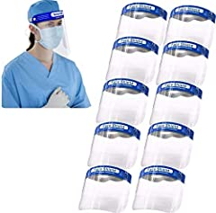 10 full face shields included with each order. Reusable, lightweight and crystal clear shields are easy to put on and comfortable to wear. Foam sponge forehead strip provides comfort at all times. High quality PE with anti-fog coating provides maximu...