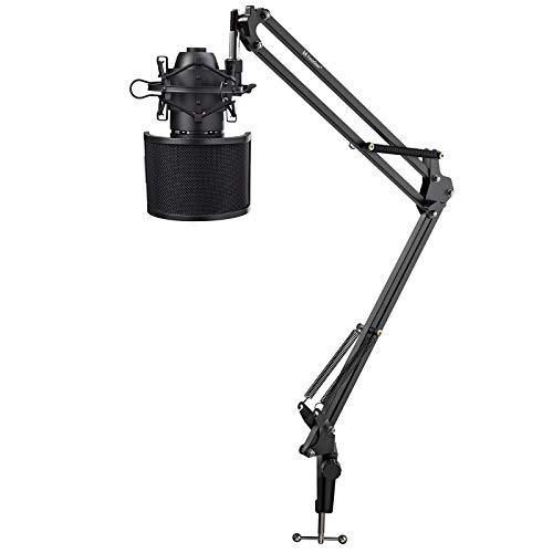 AKG P120 High-Performance General Purpose Recording Microphone Bundle with Knox Gear Desktop Boom Scissor Arm Stand, Shock Mount, & Pop Filter (4 Items)