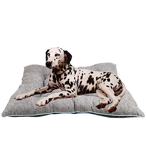 Arcoiris Colchoneta Mascota Cama Perro, Cama de Perros Grandes, Cama para Perros, Cama para Mascotas Desmontable y Extraíble Lavable 90 x 70 x 13CM (L, Gris)