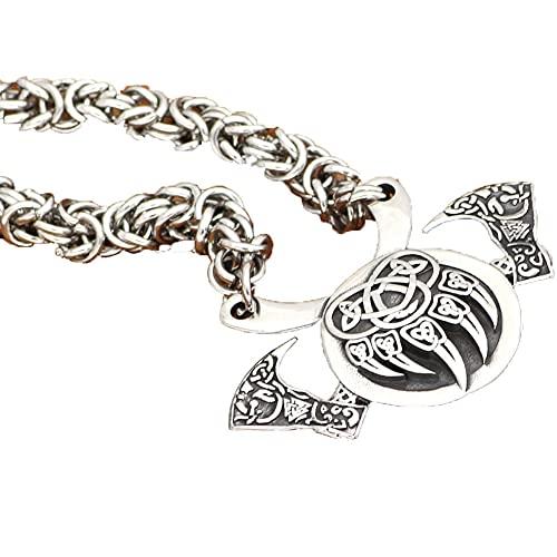 Oso De Viking Odin Catch Celtic Collar con Colgante De Runas De Hacha Doble Regalos Hechos A Mano De La Joyería De La Cruz del Amuleto Pagano Vintage,60cm/24inch