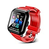 T-CORE Fitness Tracker Smart Watch, Activity Tracker with Heart Rate Monitor, IP68 Waterproof Fitness Band with Blood Pressure, Step, Calorie Counter, Pedometer Watch for Kids Women and Men -Red