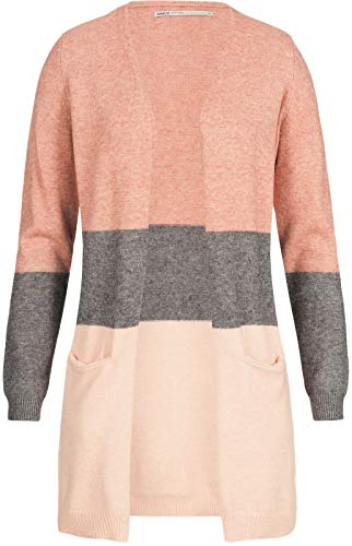 Only Onlqueen L/s Long Cardigan Knt Noos Chaqueta Punto, Multicolor (Misty Rose Stripes:W. MGM/Cloud Pink Melange), 42 (Talla del Fabricante: Large) para Mujer