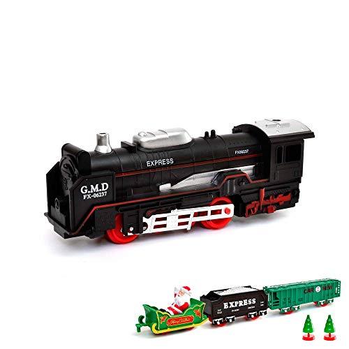 HSP Himoto Elektrische Eisenbahn Starter-Set, Zug, Dampf-Lok Weihnachten Santa Claus Design Soundsimulation, Modell-Lokomotive