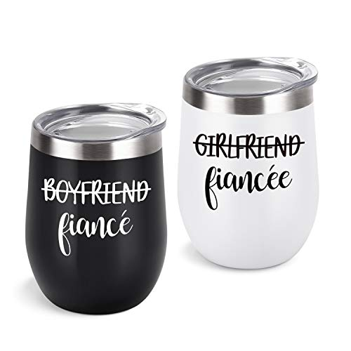 Lifecapido Boyfriend and Girlfriend Wine Tumbler Set, Engagement Ideas for Fiance Fiancee Friend Bachlorette, 12 Oz Funny Couple Stainless Steel Insulated Wine Tumbler with Lid, Black and White