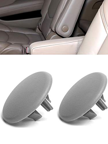 Kerman 2pcs Armrest Cover Cap for 07-19 Chevy Tahoe Suburban Yukon Cadillac Escalade Seat Parts Replacement OEM GM 15279690 Rear Bucket Seats Arm Rest Handle Trim Bolt Vehicle Accessories (Gray)