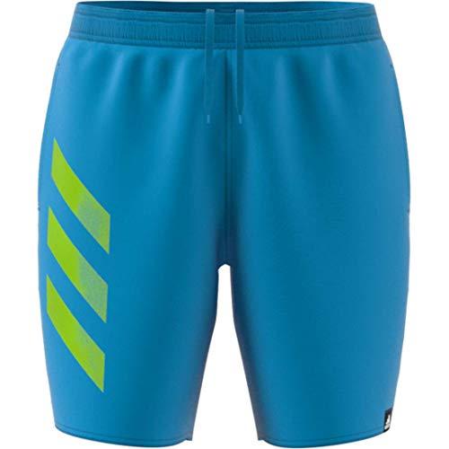Adidas Bold - Pantalón corto para hombre, diseño de 3 rayas, color cian
