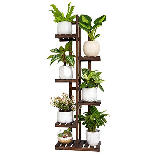 Mkono Wood Plant Stand Rack 6 Tier 7 Potted Plant Shelf Indoor Outdoor Tall Multi-tiered Flower Pot Holder Modern Ladder Storage Rack Display Planter for Patio Garden Corner Balcony Living Room, Brown