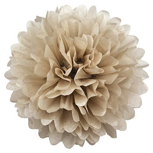 Simplydeko Pompoms 3er Set | Deko Pom-Poms aus Papier | Papierkugel zur Hochzeit oder Party | Papierblumen als Hochzeitsdeko | Seidenpapier Pompons | Taupe | 20 cm