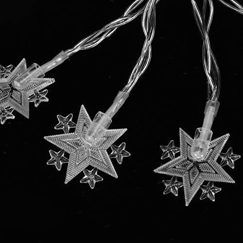 Cadena de luz, 10LED Cadena de estrella de 5 puntas Luz de cadena a prueba de agua 3pcs 5.2 pies Cadena de luces Lámpara de cadena decorativa, para árboles de Navidad domésticos