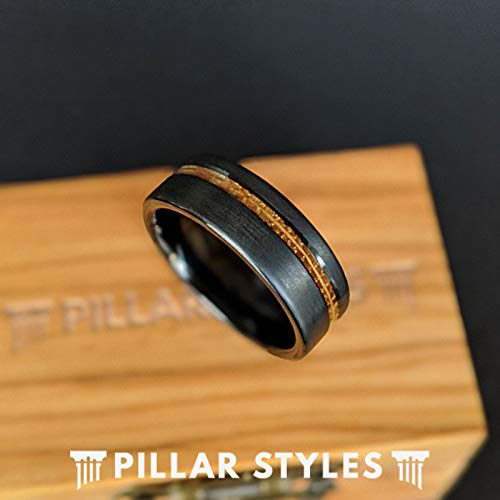 Black Whiskey Barrel Rings for Men Unique Wedding Band 8mm Tungsten and Wood Rings Bourbon Barrel Wooden Ring