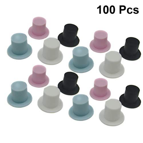 NUOBESTY 100 piezas navidad mini sombreros copa plástico