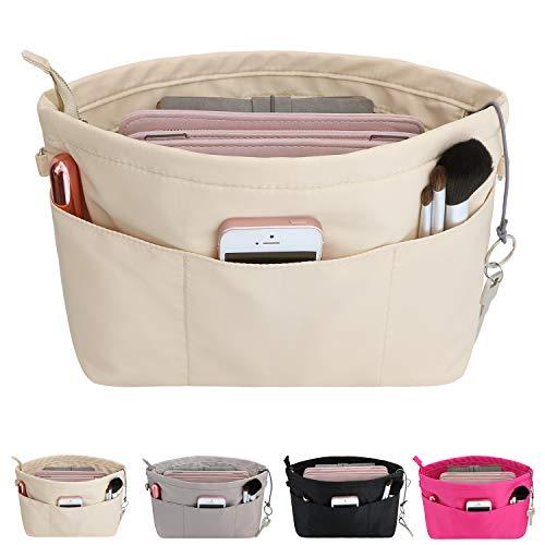 HyFanStr Handtaschen Organizer Nylon, Taschenorganizer Tasche in Tasche Organizer Innentaschen für Handtaschen mit Schlüsselkette,Beige,Klein