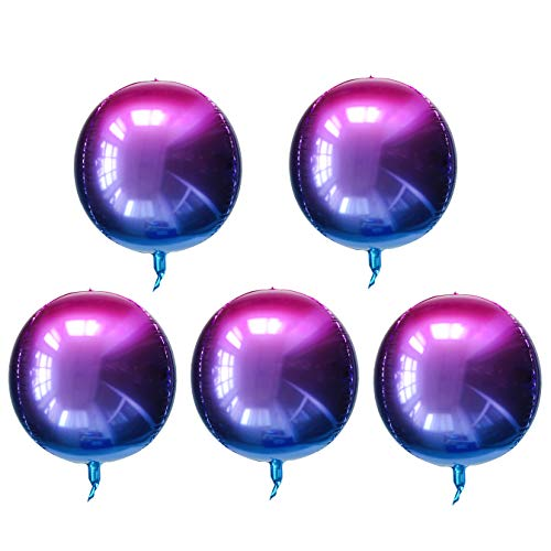 22 Inch 4D Large Round Aluminum Foil Balloons Self-Sealing Disco Fever Mirror Metallic Hangable for Party Birthday Party Wedding Baby Shower Marriage Decor Supplies 5 Count Purple