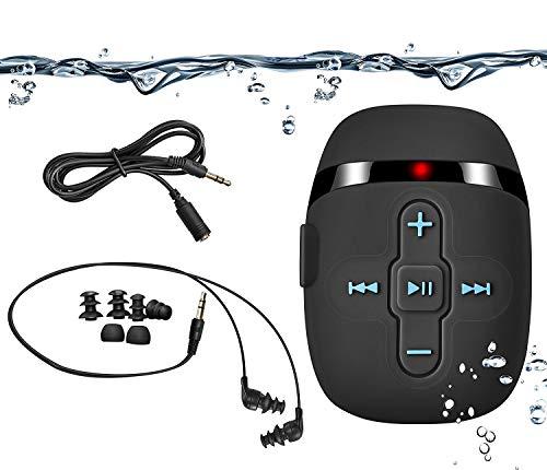 HiFi Sound Wasserdichter MP3 Player zum Schwimmen und Laufen, Unterwasser-Kopfhörer mit kurzem Kabel (3 Arten Ohrhörer), mit Shuffle Funktion (Full Black)