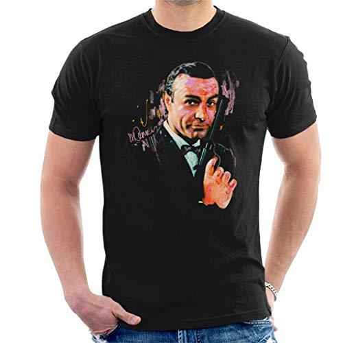 VINTRO Sean Connery James Bond T-Shirt Original-Porträt von Sidney Maurer (Schwarz,L)