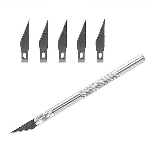 iTimo DIYWORK - Cuchillo de corte de 6 cuchillas para manualidades y manualidades, escultura de cuchillo de escultura de cuero cabelludo de aleación de aluminio