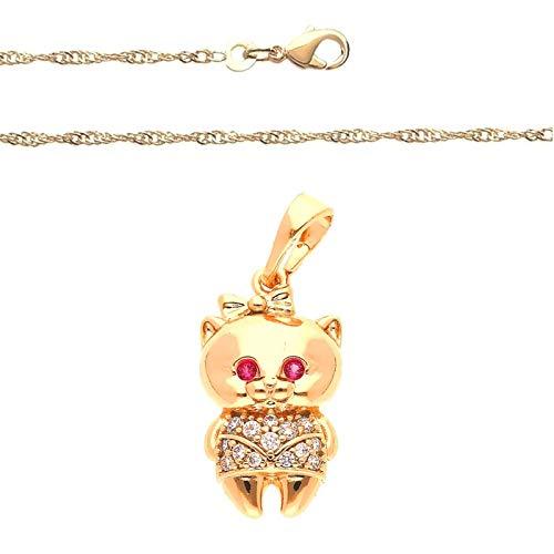 Cadena y colgante de gato de cristal blanco y rosa, oro amarillo 750 laminado*