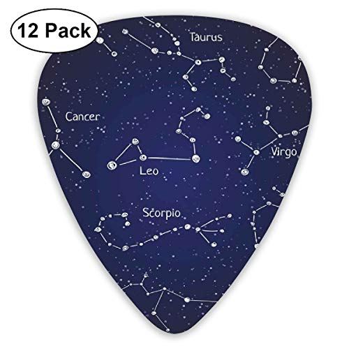 Guitar Picks - Abstract Art Colorful Designs,Doodle Chalk Writing Style Zodiac Star Clusters And Sign Names,Unique Guitar Gift,For Bass Electric & Acoustic Guitars-12 Pack