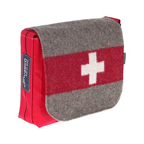 Segeltuchtasche CANVASCO Mini Suisse/Segel rot/Gurt rot-schwarz/Armeedecke horizontal
